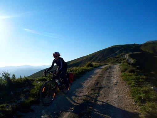 Approaching Sutera on the Magna Via Francigena by bike