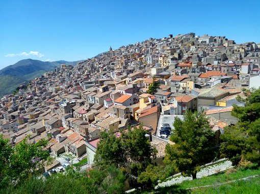 The ancient stone village of Prizzi on the Magna Via Francigena